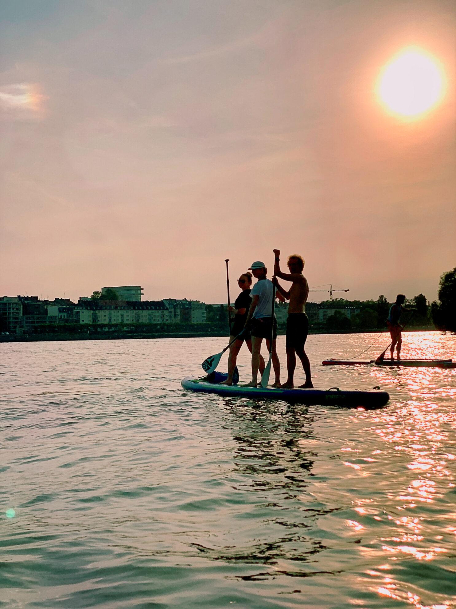 Team SUP im Sonnenuntergang